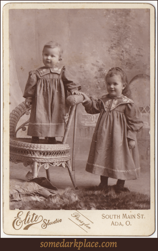 Two small children in matching dresses. One is standing in a chair, the other beside. The younger of the two appears to be a boy, the other a girl. Both dresses are embroidered and have decorative stitching.
